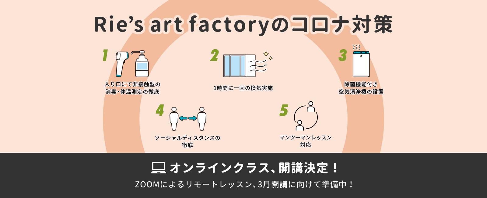 Rie's art factoryのコロナ対策